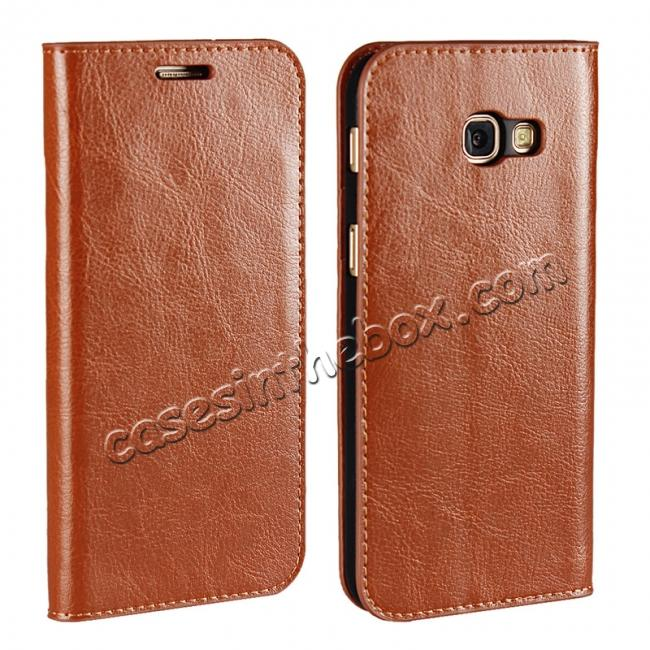 wholesale Crazy Horse Genuine Leather Wallet Case with Stand For Samsung Galaxy A5 2017 - Brown