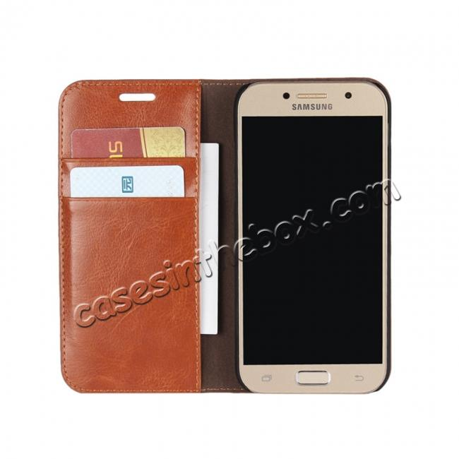 top quality Crazy Horse Genuine Leather Wallet Case with Stand For Samsung Galaxy A5 2017 - Brown
