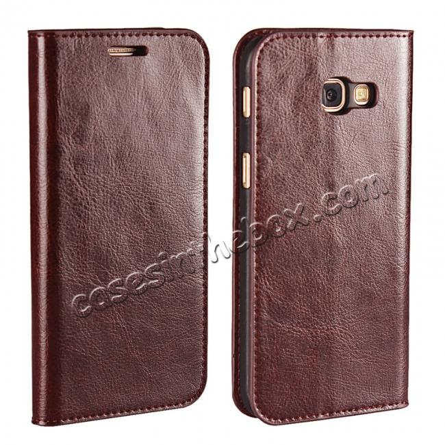 wholesale Crazy Horse Genuine Leather Wallet Case with Stand For Samsung Galaxy A5 2017 - Coffee