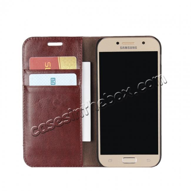 top quality Crazy Horse Genuine Leather Wallet Case with Stand For Samsung Galaxy A5 2017 - Coffee