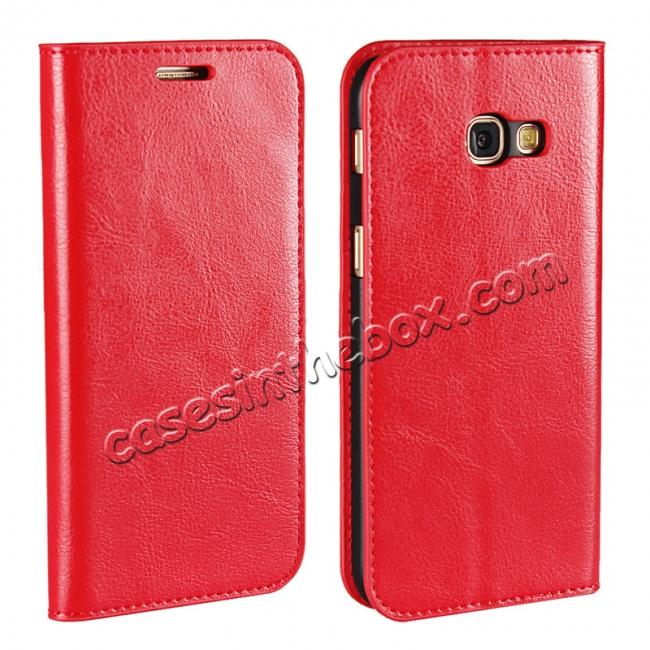 wholesale Crazy Horse Genuine Leather Wallet Case with Stand For Samsung Galaxy A5 2017 - Red