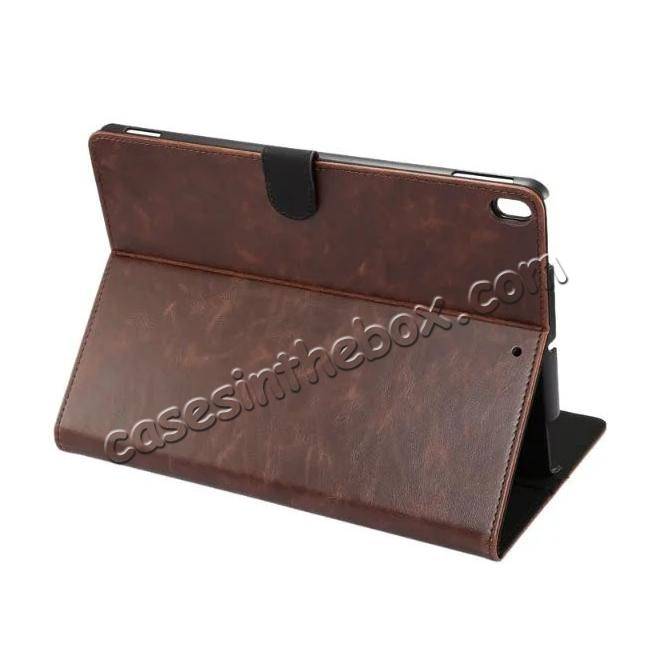 wholesale Crazy Horse Leather Folio Stand Case Cover For iPad Pro 10.5-inch - Dark Brown