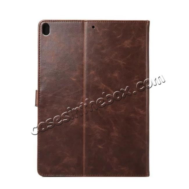 cheap Crazy Horse Leather Folio Stand Case Cover For iPad Pro 10.5-inch - Dark Brown