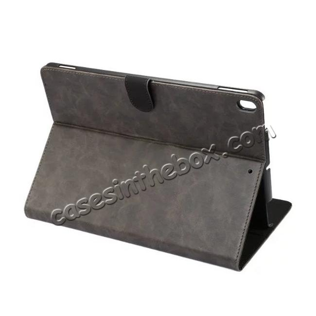 wholesale Crazy Horse Leather Folio Stand Case Cover For iPad Pro 10.5-inch - Grey