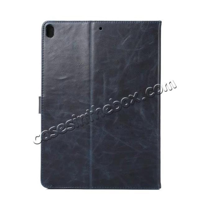 cheap Crazy Horse Leather Folio Stand Case Cover For iPad Pro 10.5-inch - Navy Blue