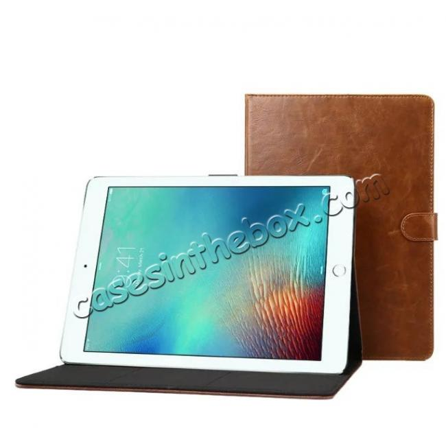 best price Crazy Horse Leather Folio Stand Case Cover For iPad Pro 10.5-inch - Navy Blue