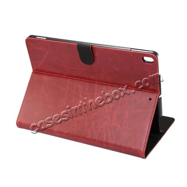wholesale Crazy Horse Leather Folio Stand Case Cover For iPad Pro 10.5-inch - Wine Red