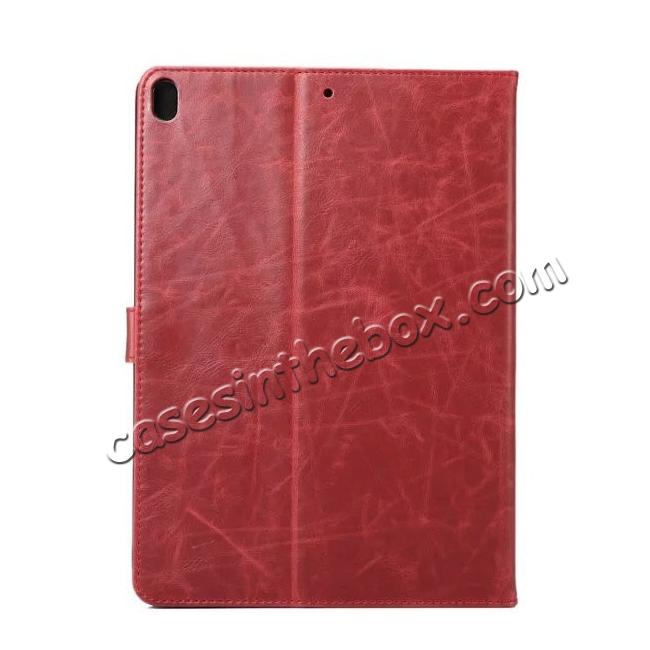 cheap Crazy Horse Leather Folio Stand Case Cover For iPad Pro 10.5-inch - Wine Red