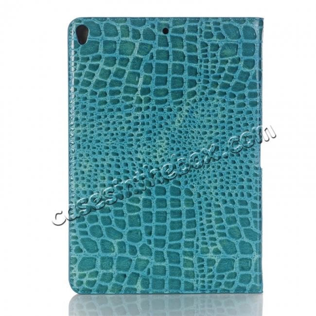 top quality Crocodile Folio Flip Leather Stand Case Cover for iPad Pro 10.5-inch - Blue