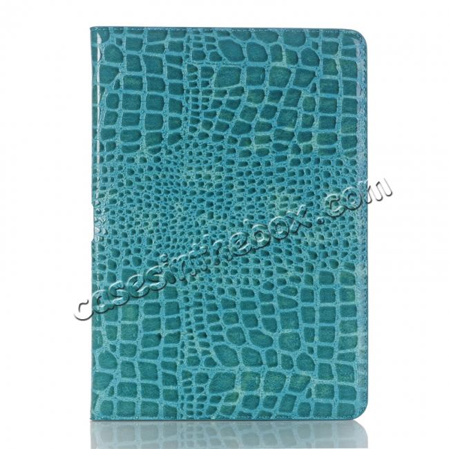best price Crocodile Folio Flip Leather Stand Case Cover for iPad Pro 10.5-inch - Blue