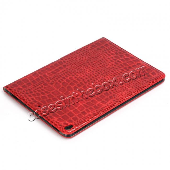 discount Crocodile Folio Flip Leather Stand Case Cover for iPad Pro 10.5-inch - Red