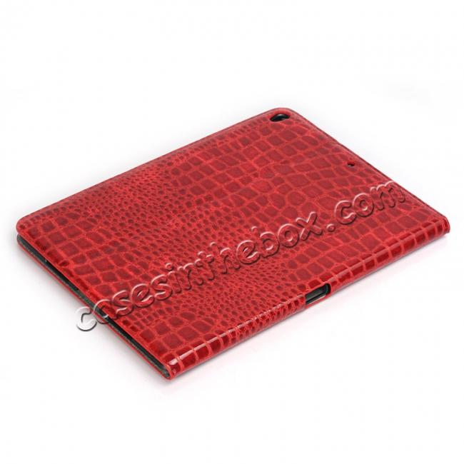 cheap Crocodile Folio Flip Leather Stand Case Cover for iPad Pro 10.5-inch - Red