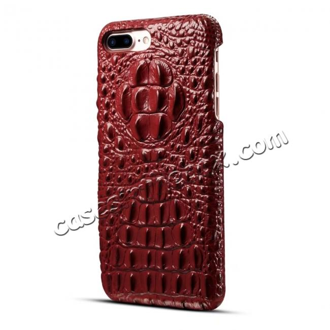 cheap Crocodile Head Pattern Genuine Cowhide Leather Back Cover Case for iPhone 7 Plus 5.5 inch - Red