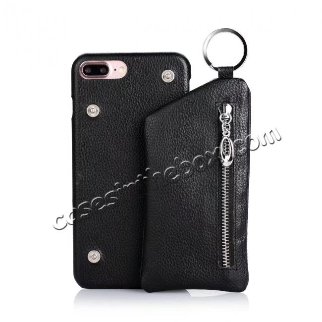 discount Fashion Genuine Leather Back Cover Case with Bag for iPhone 7 Plus 5.5 inch - Black