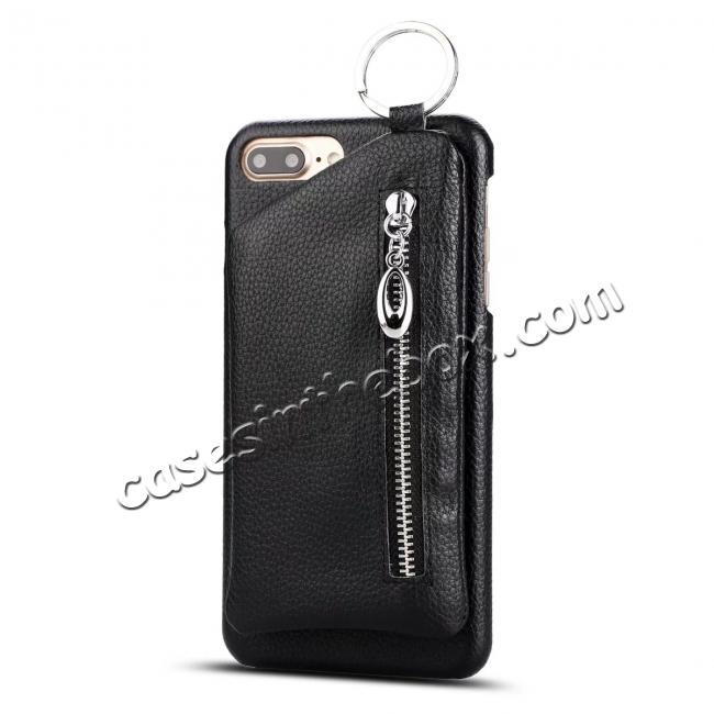 wholesale Fashion Genuine Leather Back Cover Case with Bag for iPhone 7 Plus 5.5 inch - Black
