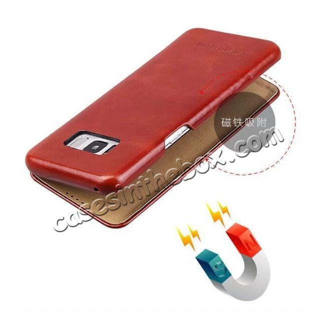 top quality Genuine Cowhide Leather Flip Wallet Case for Samsung Galaxy S8