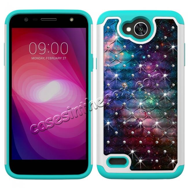 discount Luxury Diamond Bling Hybrid Dual Layer Shockproof Case For LG X Power 2 / Fiesta LTE - Nebula