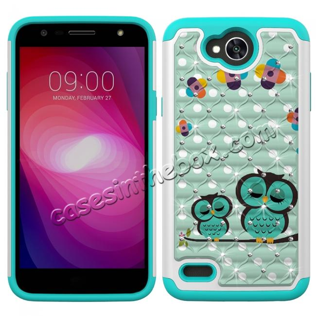 discount Luxury Diamond Bling Hybrid Dual Layer Shockproof Case For LG X Power 2 / Fiesta LTE - Owl
