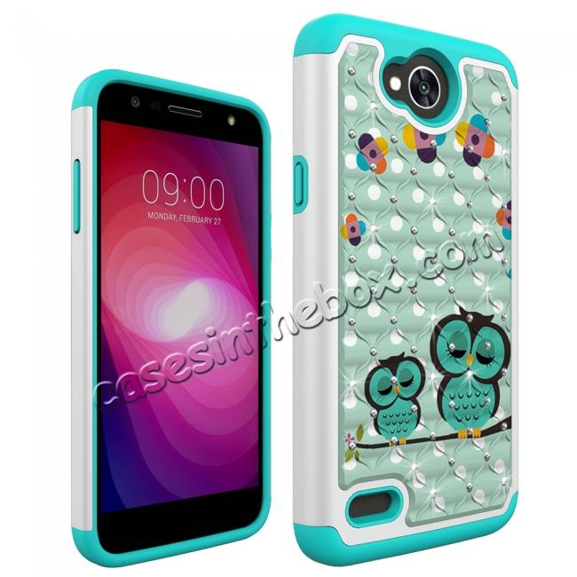 cheap Luxury Diamond Bling Hybrid Dual Layer Shockproof Case For LG X Power 2 / Fiesta LTE - Owl