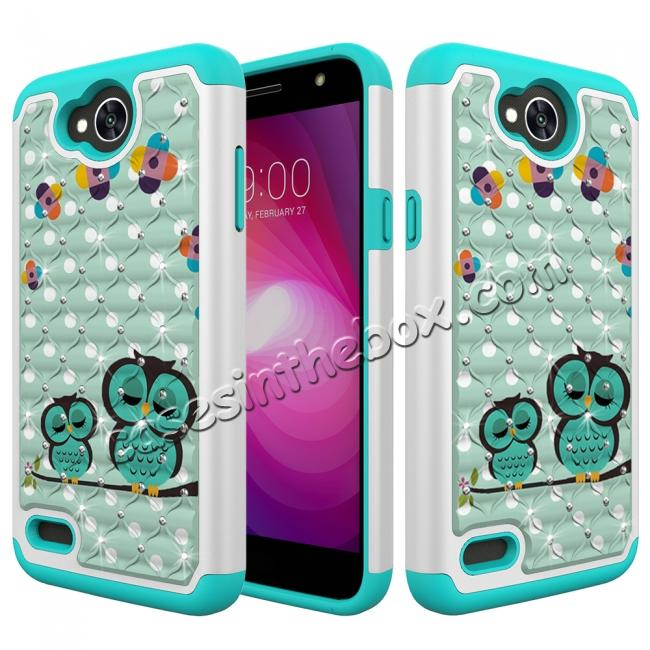 wholesale Luxury Diamond Bling Hybrid Dual Layer Shockproof Case For LG X Power 2 / Fiesta LTE - Owl