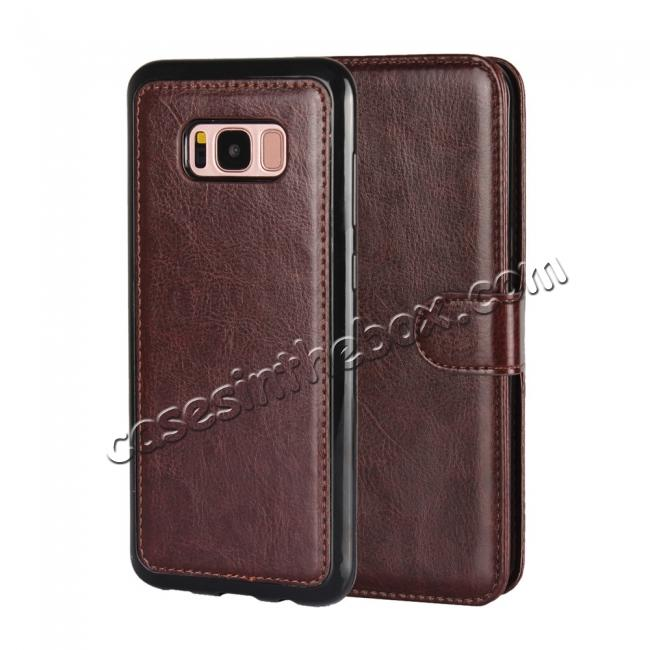 wholesale Luxury Wallet Leather Detachable Case Stand Cover For Samsung Galaxy S8+ Plus - Coffee