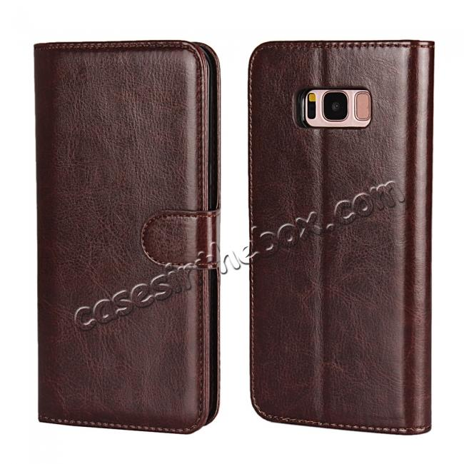 discount Luxury Wallet Leather Detachable Case Stand Cover For Samsung Galaxy S8+ Plus - Coffee