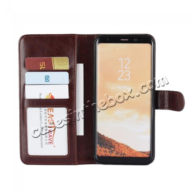 top quality Luxury Wallet Leather Detachable Case Stand Cover For Samsung Galaxy S8+ Plus - Coffee