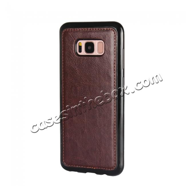 best price Luxury Wallet Leather Detachable Case Stand Cover For Samsung Galaxy S8+ Plus - Coffee