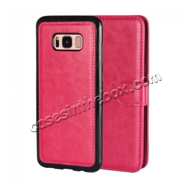 wholesale Luxury Wallet Leather Detachable Case Stand Cover For Samsung Galaxy S8+ Plus - Rose