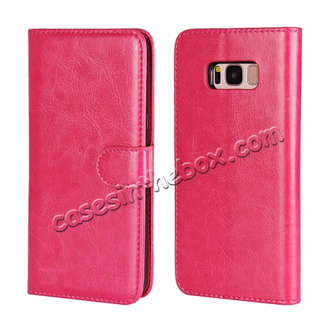 discount Luxury Wallet Leather Detachable Case Stand Cover For Samsung Galaxy S8+ Plus - Rose