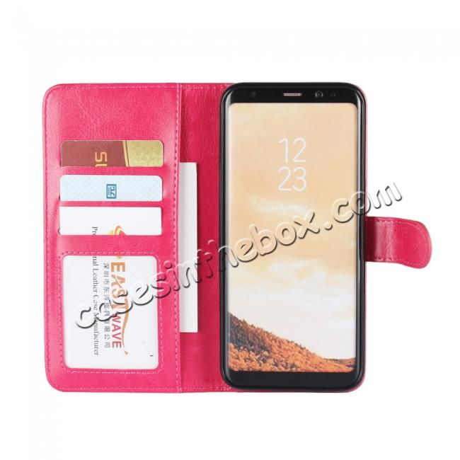 top quality Luxury Wallet Leather Detachable Case Stand Cover For Samsung Galaxy S8+ Plus - Rose