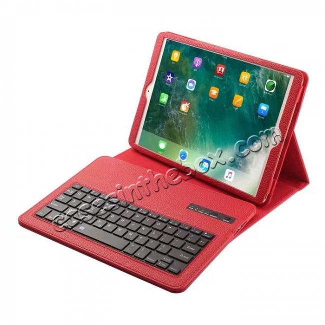 wholesale Removable Bluetooth Keyboard Leather Case for 10.5-inch iPad Pro - Red