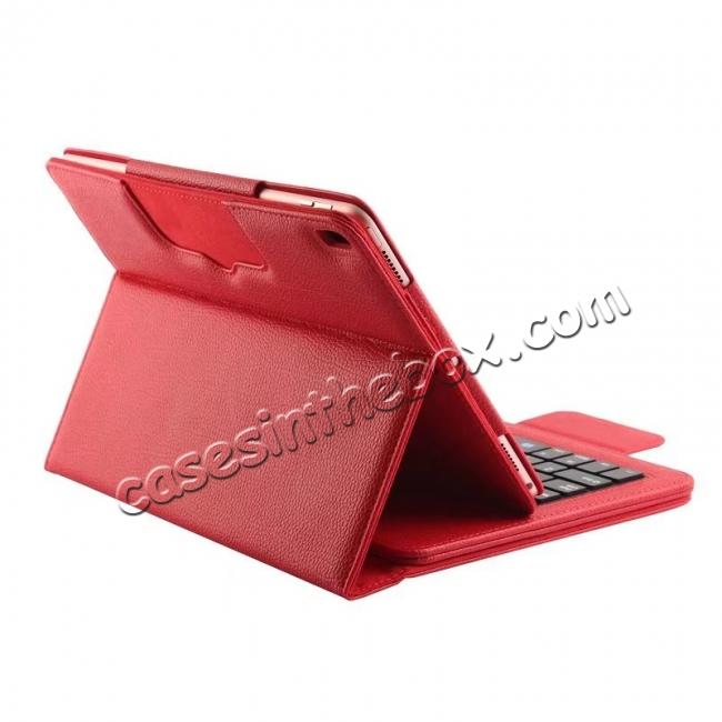 cheap Removable Bluetooth Keyboard Leather Case for 10.5-inch iPad Pro - Red