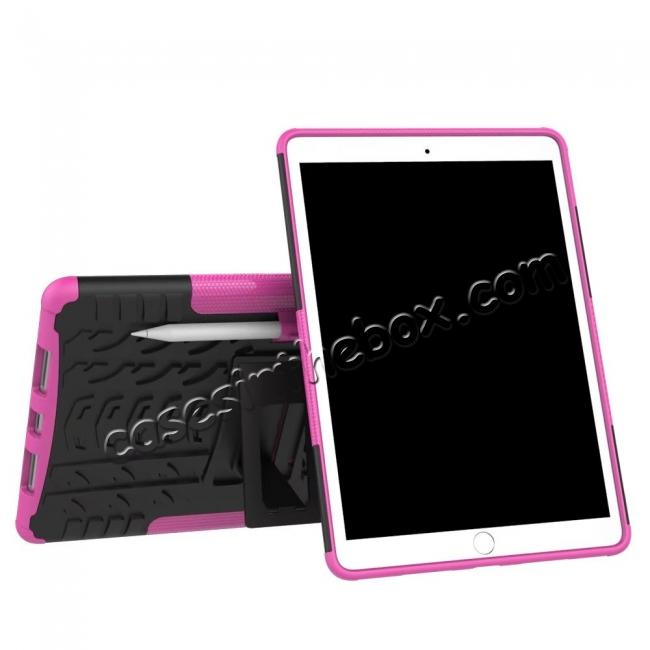 discount Rugged Armor TPU Hard Hybrid ShockProof Stand Case Cover For iPad Pro 10.5 inch - Hot pink