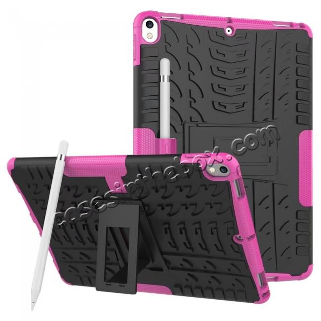 wholesale Rugged Armor TPU Hard Hybrid ShockProof Stand Case Cover For iPad Pro 10.5 inch - Hot pink