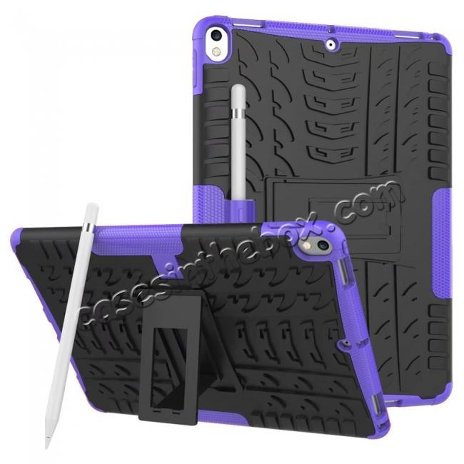 wholesale Rugged Armor TPU Hard Hybrid ShockProof Stand Case Cover For iPad Pro 10.5 inch - Purple