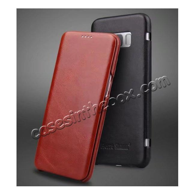 wholesale Slim Genuine Cowhide Leather Wallet Case for Samsung Galaxy S8+ Plus