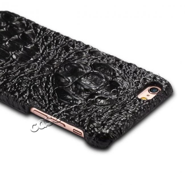 best price Stylish Crocodile Head Grain Genuine Cowhide Leather Back Cover Case for iPhone 7 4.7 inch - Black