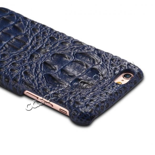best price Stylish Crocodile Head Grain Genuine Cowhide Leather Back Cover Case for iPhone 7 4.7 inch - Blue