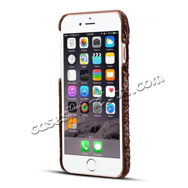 top quality Stylish Crocodile Head Grain Genuine Cowhide Leather Back Cover Case for iPhone 7 4.7 inch - Brown