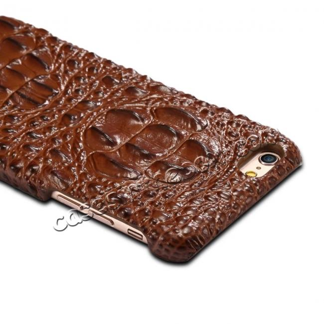 best price Stylish Crocodile Head Grain Genuine Cowhide Leather Back Cover Case for iPhone 7 4.7 inch - Brown