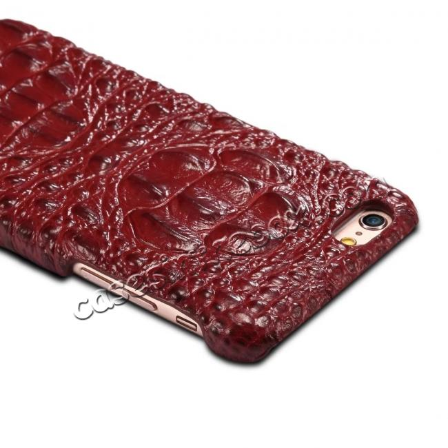 best price Stylish Crocodile Head Grain Genuine Cowhide Leather Back Cover Case for iPhone 7 4.7 inch - Red