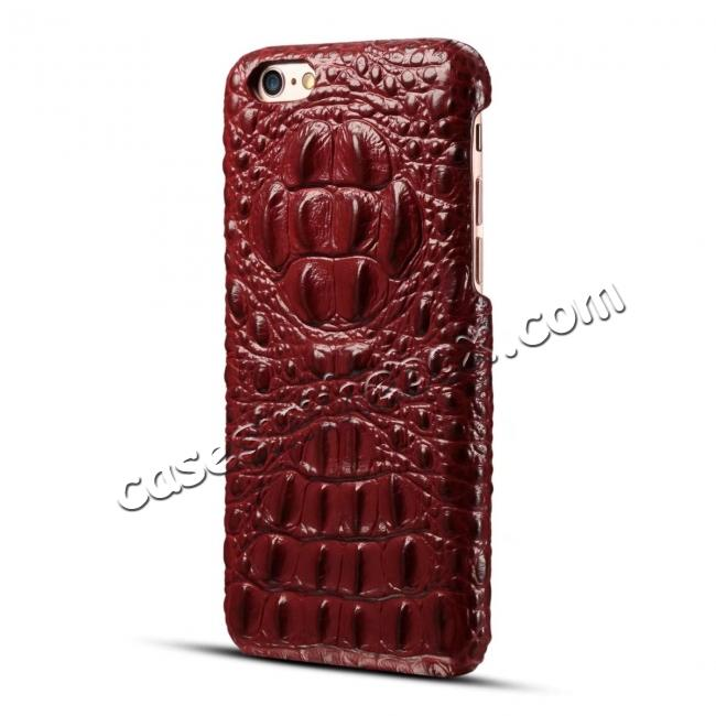 cheap Stylish Crocodile Head Grain Genuine Cowhide Leather Back Cover Case for iPhone 7 4.7 inch - Red