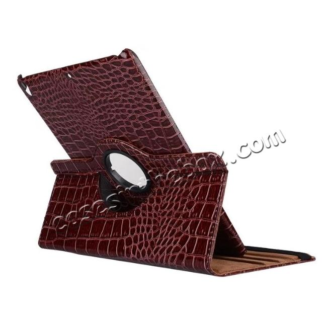 discount 360 Degree Rotating Crocodile PU Leather Case for iPad Pro 10.5-inch - Brown