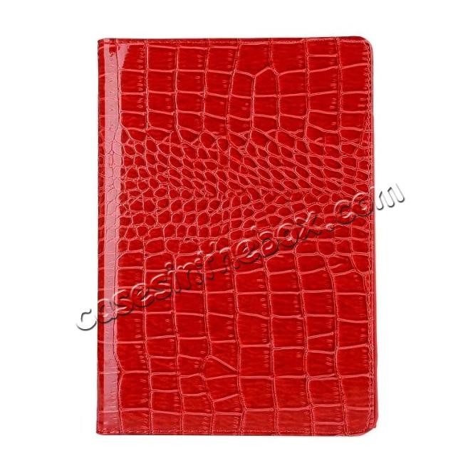 top quality 360 Degree Rotating Crocodile PU Leather Case for iPad Pro 10.5-inch - Red