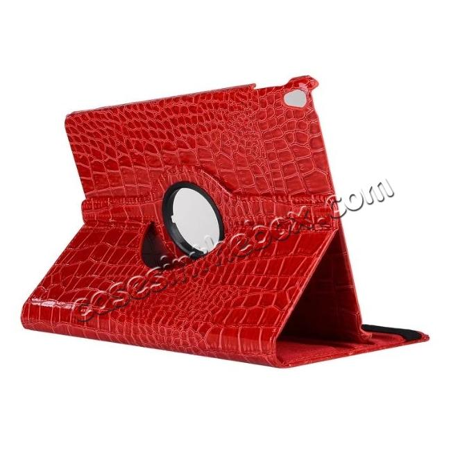 wholesale 360 Degree Rotating Crocodile PU Leather Case for iPad Pro 10.5-inch - Red