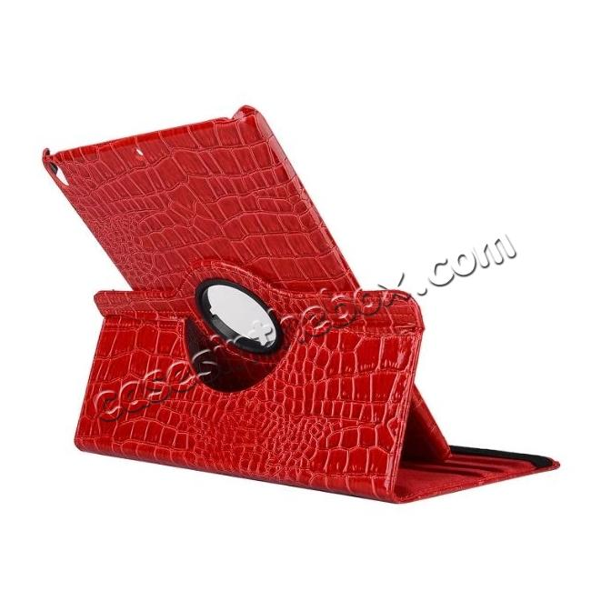 discount 360 Degree Rotating Crocodile PU Leather Case for iPad Pro 10.5-inch - Red