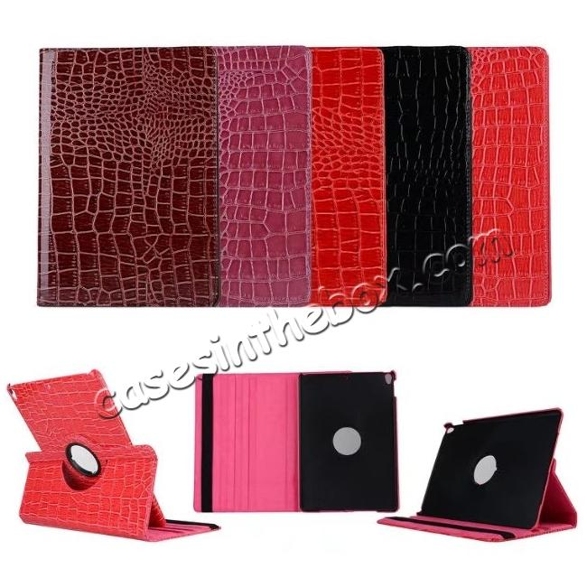 on sale 360 Degree Rotating Crocodile PU Leather Case for iPad Pro 10.5-inch - Red