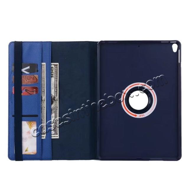 best price 360 Degree Rotating PU Leather Case With Stand For iPad Pro 10.5 inch - Dark Blue