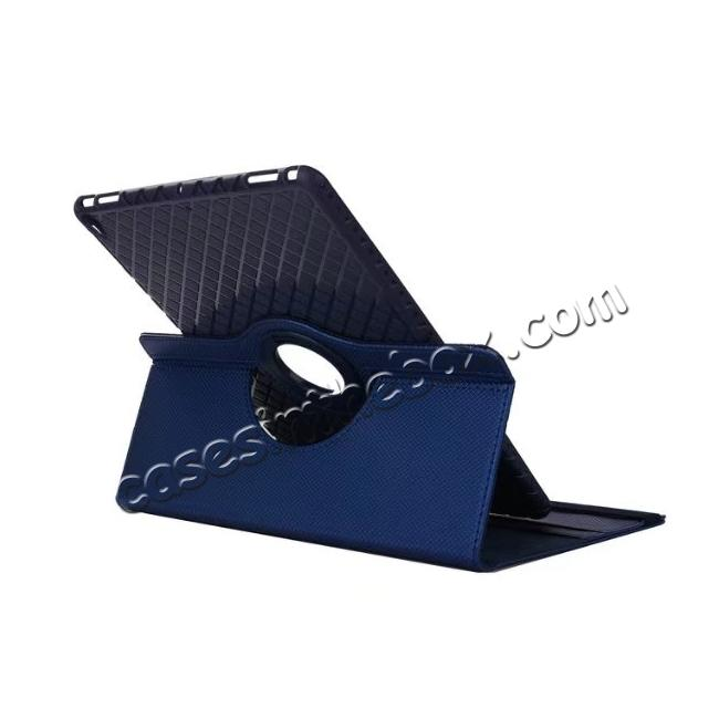 cheap 360 Degree Rotating PU Leather Case With Stand For iPad Pro 10.5 inch - Dark Blue